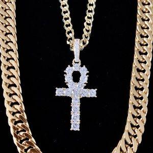 ANKH SET FULL DIAMONDS CZ 18K GOLD CHAIN ITALY